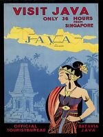 PRINT POSTER VINTAGE TRAVEL VISIT JAVA ISLAND TEMPLE WOMAN TRADITIONAL NOFL1547