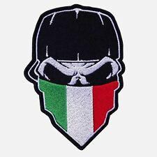 """SKULL with CAP and ITALY FLAG Hanky 9"""" x 13"""" embroidered CENTER Patch-0654"""