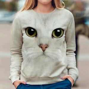 Womens Cat Print Tops Pullover Jumper Sweatshirt Ladies Long Sleeve Blouse Tops