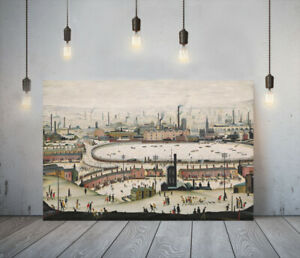 LOWRY STYLE THE POND -FRAMED CANVAS WALL ART PICTURE PAPER PRINT- WHITE BROWN