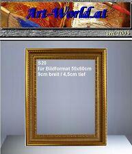 Barockrahmen,Bilderrahmen, Holzkern Prunkrahmen für Gemäldeformat 50x60cm  - S20