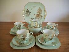 Vintage Noritake Mint Green Tea Set Embossed Gold 4 Tea Cup Trios & More - 18pcs