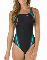 Speedo Black Blue Gray Women's Size 6 One-Piece Cutout Swimwear $78 #697