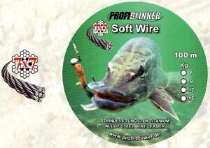 PROFI BLINKER Soft Wire 7x7 5m Stahlvorfach Edelstahl 6, 9, 12, 15 20 Kg GERMANY