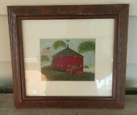 "Warren Kimble American Folk Art Red Round  Barn House Framed Print 10"" x 9"""
