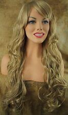 Long Butterscotch Blonde Platinum 613 24 Mix Wig Bangs Flips Skin Top Kanekalon