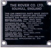 Land Rover Series 1 2 2a Bulkhead Patents Chassis Information VIN chassis Plate