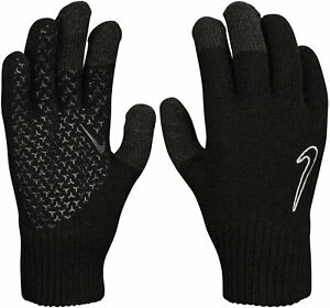 Nike Gloves Knitted Mens Knit Grip 2.0 Black Phone Use Cold Weather Brand New