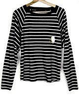 KARL LAGERFELD Tee-shirt manches longues rayé noir blanc profil Or TXS