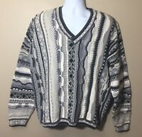 Vtg Tosani Coogi Biggie 3D Textured Gray Black White Sweater Hip Hop Cosby XL