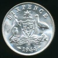Australia, 1944(s) Sixpence, 6d, George VI (Silver) - Choice Uncirculated