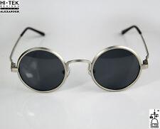 Hi Tek round sunglasses silver polarized Retro unisex Steampunk Goth John Lennon