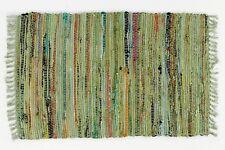 Sturbridge 2'x 3' Primitive Decor Rag Rug in Sage Green, 100% Cotton, Hand Woven