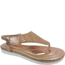 NEW WOMENS LADIES FLAT LOW WEDGE THONG TOE POST DIAMANTE SLING BACK SANDALS SIZE