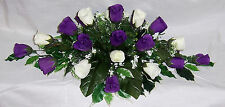wedding flowers top table decoration cadbury purple & ivory roses gyp many cols