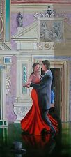 DAVID ALDUS ORIGINAL OIL CANVAS RED WALTZ  PAINTING