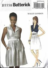UNCUT Vintage Butterick Sewing Pattern Misses Maggie London Dress Belt 5558 6-12