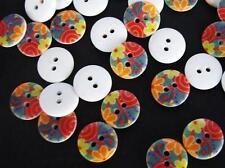 20 Retro Blossom Flower 15mm Plastic Flatback Sewing Button/hole/trim/craft Sb4