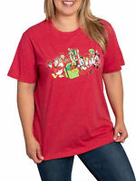 Disney Mickey Mouse & Friends Women's Plus Size Christmas T-Shirt Red