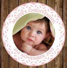 12x Personalised Christening Baptism First Communion 60mm Round Stickers Favours