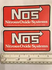 """2 pcs NOS NITROUS OXIDE SYSTEMS racing decals stickers. Approx size 5 1/2"""" x 2.5"""