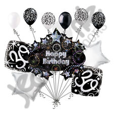 11 pc 30th Happy Birthday Balloon Decoration Party Elegant Adult Black White