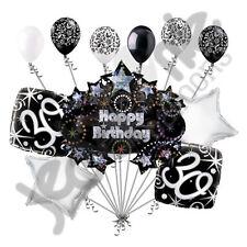 11 pc 30th Happy Birthday Balloon Decoration Party Elegant Adult Black White