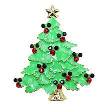 Brooch Red Black Rhinestone Crystal Mickey Mouse Christmas Tree Pin