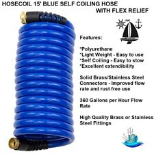 Hosecoil 15' Blue Self Coiling Hose With Flex Relief: Light Weight - Easy to Use