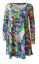 LADIES WOMENS COMIC ZAP BANG PRINT WORLD BOOK DAY TOP SWING DRESS 8 - 26