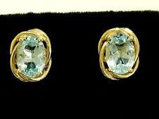 E063 - Elegant 9K 9ct Solid Gold NATURAL Topaz Stud Earrings 7x5mm 1.00ct each