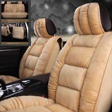 Beige Cloud Silk Cotton Artificial Plush Fur 3D Car Seat Covers Warm Full Sets