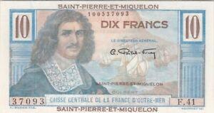 SAINT-PIERRE-ET-MIQUELON : 10 FRANCS COLBERT 1950-60 NEUF - P.23