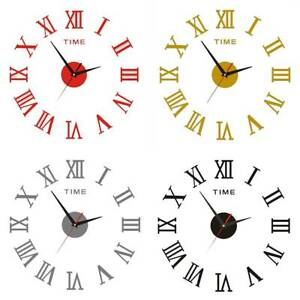 Wall Clock 3D Roman Numeral Sticker Stick-On Living Room Office DIY Art Decors
