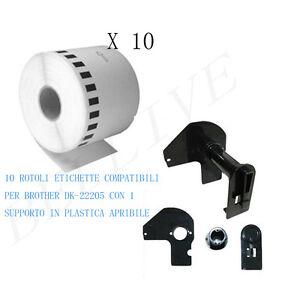 10 X Etichette Compatibile per Brother DK-22205 30.48mtX62 QL-570 500 con Telaio