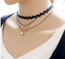 Gothic silver Lace Retro Choker Collar Lace Crystal Pendant chain Necklace P69