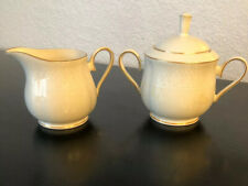 Lenox Courtyard Gold Creamer & Sugar Bowl (with Lid) Set ~ White Decor on Ivory