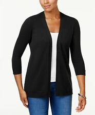 Karen Scott 7204 Size Large L Womens Black Solid Cardigan Sweater Open