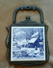 A Home In The Wilderness Cast Iron & Ceramic Tile Trivet~Currier & Ives