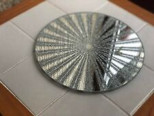 20CM DECORATIVE GLASS MIRRORED CANDLE PLATE BLING WEDDING TABLE ROUND PLATE NEW