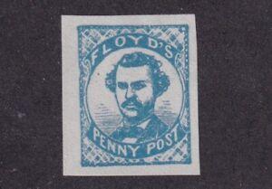 1860 U.S. Scott #68L1 Floyd's Penny Post Chicago Light Blue Carrier Stamp - Fake