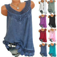 Plus Size Women Sexy Sleeveless Floral Tank Tops Vest T Shirt Summer Lace Blouse