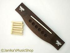 Rosewood acoustic guitar bridge butterfly pearl inlaid with saddle & string pins