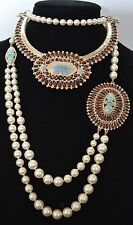 Chanel Métiers d'Art Paris Dallas 2014 2 Necklace Gripoix CC Pearl Red Turquoise