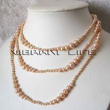 """50"""" 3-8mm Peach Pink Graduated Freshwater Pearl Strand Necklace Fashion Jewelry"""
