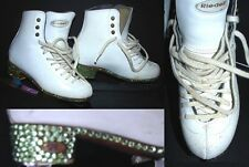 Ice Figure Skates Riedell Bronze Medallion with green crystals Girls Size 1.5