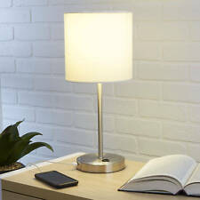 White Stick Table Lamp Shade W/ Usb Charging Port Home Decor Desk Light No Bulb