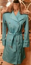Tiffany Blue Belted Trench Coat With Removable Faux Fur Trim Collar - Sz 34/S