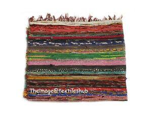 Chindi Rug Floor Carpet Area Handmade Indian Hand-Woven Sari Rag Rug Yoga Mat