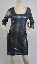 Guess New 3/4 Sleeve Gray Sequin KIRA Cocktail Evening Party Dress Mini Size 8